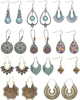 LOLIAS 10 Pairs Bohemian Vintage Drop Dangle Earrings for Women National Style Hollow Statement Earrings Retro Metal Drop ...