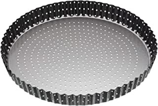 MasterClass Crusty Bake 28 cm Perforated Quiche Tin with PFOA Free Non Stick and Loose Bottom, Fluted, Robust 1 mm Carbon ...