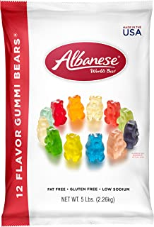 Albanese Candy 12 Flavor Gummi Bears 5 lb Bag, Assorted Gummi Bears: Cherry, Pink Grapefruit, Watermelon, Strawberry, Orange, Blue Raspberry, Lime, Grape, Green Apple, Mango, Pineapple, Lemon