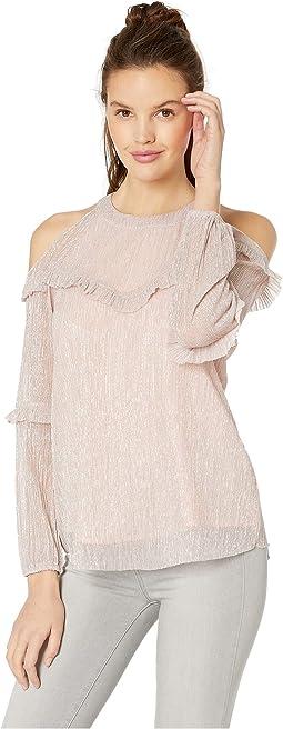 Flounce Open Shoulder Long Sleeve Pleated Top