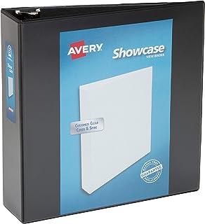 حافظة Avery Economy Showcase View Binder مع حلقة مستديرة 7.62 سم، أسود، غلاف واحد (19750)