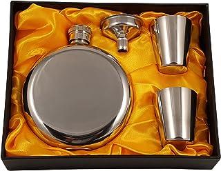 300 ml Rund-Flachmann-Geschenkset mit zwei Schnapsgl/äsern und Trichter in einer schwarzen Geschenkbox