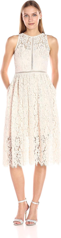 Adrianna Papell Womens Tea Length Halter Lace Party Dress Dress