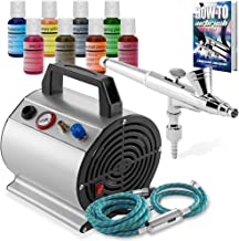 PointZero Airbrush Cake Decorating Kit - Airbrushing Set Includes Air Compressor, Hose, Gravity Feed Dual-Action Airbrush,...