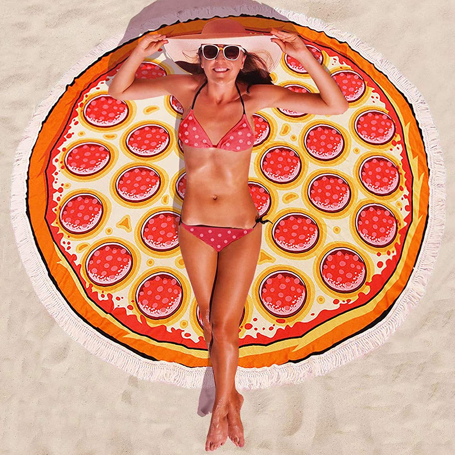 Pizza Round Beach Towel Microfiber Inches Ultra-Cheap Deals Oversized OFFicial mail order Blanket W 59