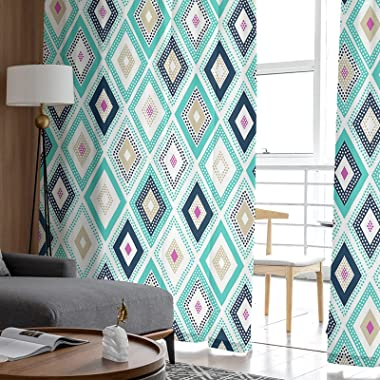 Semi Sheer Curtains with Rod Pocket Diamonds Triangle Abstract Pattern and Geometric Print, Curtain Panels for Living Dining
