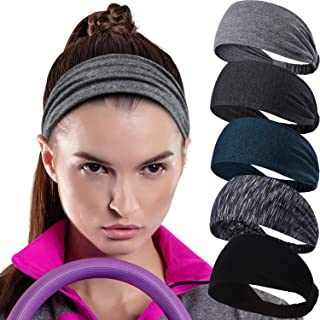 Workout Headband for Women Men - Non slip Sweatband - Stretchy Soft Hair Head Band Set - Sports Fitness Exercise Tennis Running Gym Dance Yoga