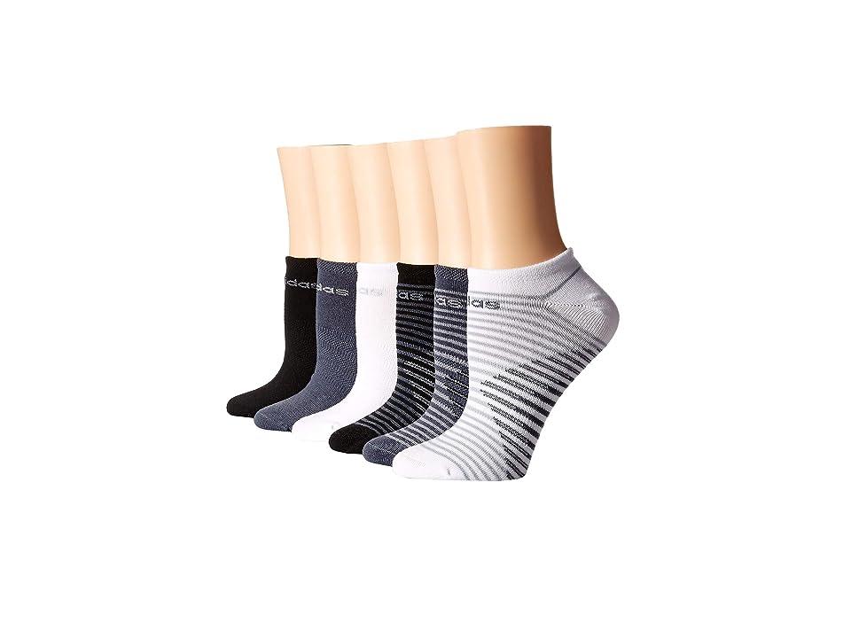 adidas Superlite Adiblock No Show Socks 6-Pack (White/Clear Onix/Onix/Light Onix/Black) Women's No Show Socks Shoes