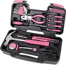 Apollo Tools DT9706P Original 39 Piece General Repair Hand Tool Set with Tool Box Storage Case Pink Ribbon