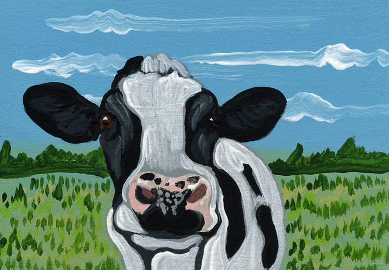 ACEO ATC -Black Cow Farmyard San Antonio Mall Painting-Carla Miniature Regular discount Smale Art