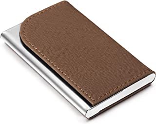 Business Card Holder Luxury PU Leather Case Matte Finish Stainless Steel Prevent Fingerprints Wallet for Women and Men