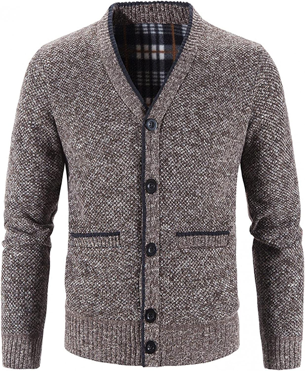 SUIQU Mens Knit Jacket Coat Autumn & Winter Solid Color Long Sleeve Button Pocket V-Neck Warm Cardigan Knitted Outwear