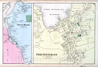 Historic Map - 1873 Stony Brook, Port Jefferson, in Brookhaven. Long Island. - Vintage Wall Art - 64in x 44in