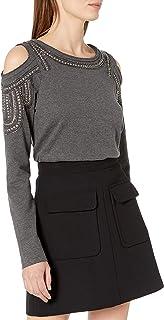 Buffalo David Bitton Womens KT7569 Casual-Bling T-Shirt - Gray