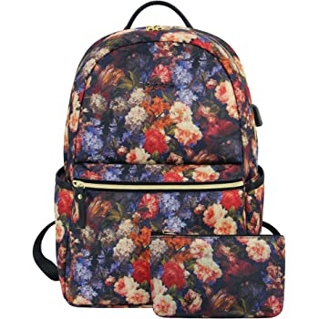 KROSER Laptop Backpack 15.6 Inch Stylish Travel Backpack Computer Backpack with USB Charging Port Water-Repellent College School Casual Daypack Business Work Bag for Women/Girls (Rose Pattern)