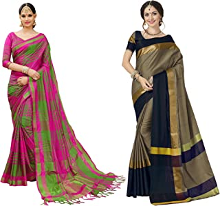 Indira Designer Cotton Saree with Blouse Piece (IBCOMBO-150_Multicolor_Free Size)