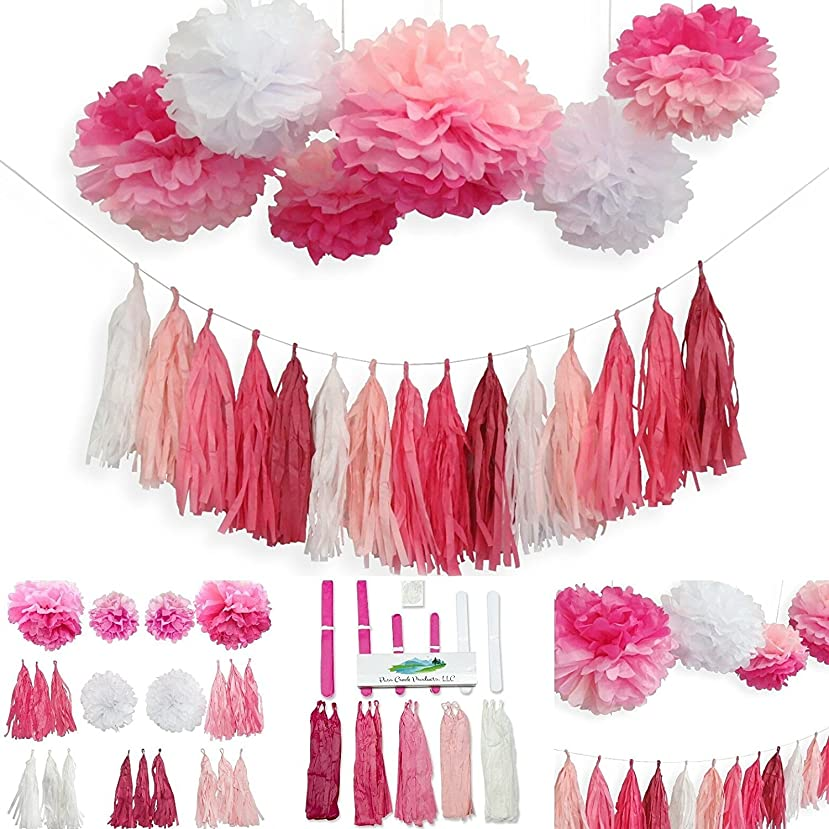 Pre-Assembled Tassel Garland and Pom Party Decoration Set for Valentines Day, 6 Pink Ombre and White Multicolor Poms + 15 Ready-to-Hang Tassels for Any Occassion