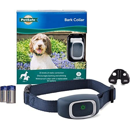 PetSafe Lite Rechargeable Bark Collar 15 Levels of Automatically Adjusting Static Correction Waterproof; Reduces Barking and Whining for Timid Dogs for 8 lb Rechargeable