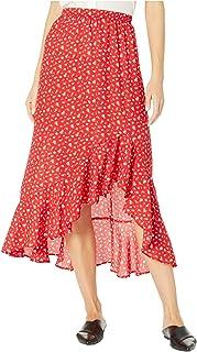 Women's Floral Print Ruffle Hem Maxi Skirt