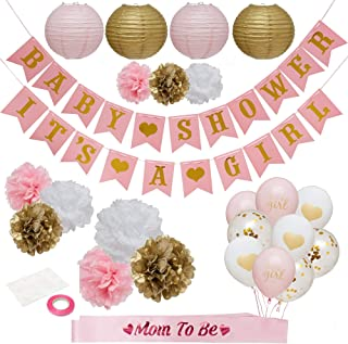 Pink and Gold Baby Shower Decorations for Girl - Baby shower Party Supplies Paper Lanterns/Tissue Pom Poms/Balloons/Banner/Sash/Glue Dots/Ribbon - Pink/White/Gold Decorations - Balloon/Lantern Princess Baby Products - Its a girl baby shower decoration