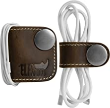 ELFRhino Genuine Leather Headphone Earphone Organizer Cord Organizer Wrap Winder Cord Manager Cable Winder(Set of 2, Coffee)