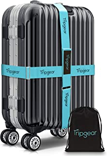 Premium Luggage Strap - Luggage Belt with extra strong Fastener (Blue - 2pcs + velvet bag)