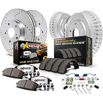 Front Kit Fits:- Colorado Canyon 4 Ceramic Pads 6lug 2 Black Coated Cross-Drilled Disc Brake Rotors Heavy Tough-Series