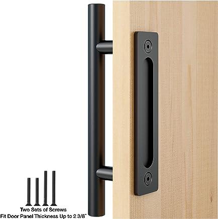 """FaithLand 12"""" Heavy Duty Pull and Flush Door Handle Set in Black, Sliding Barn Door Handle - Fit Doors Up to 2 3/8''"""
