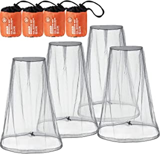 4 Pack Mosquito Head Net Face Mesh Net Head Protecting Net for Outdoor Hiking Camping Climbing Walking Mosquito Fly Insects Bugs Preventing (Big Size, Grey)