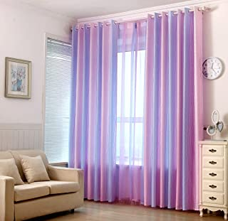 ZZC Colorful Striped Curtains Pink for Living Room Semi Blackout Modern Grommet Top Window Treatment Panels Draperies for France Door, 2 Panels W39 x H84 Inch