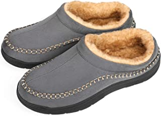 Men's Fuzzy Microsuede Moccasin Style Slippers Indoor/Outdoor Fluffy House Shoes