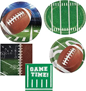Olive Occasions Football Game Tailgate Rush Super Bowl Party Supplies 16 Dinner Plates, 16 Dessert Plates, 32 Beverage Napkins, 8 Chip & Dip Platters and Recipe by Grandma Olive