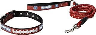 NFL Dallas Cowboys Pebble Grain Football Collar & Large Leash Gift Pack, Medium, Brown