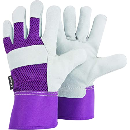 FZTEY Ladies Garden Gloves , Reinforced Leather Heavy duty Thick Gauntlets For Men and Women Kids Festival Gift , Safety Protective Work Rigger Washable Gripper (Medium, Violet, 1 Pairs)