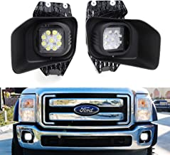 iJDMTOY LED Fog/Driving Light Kit For 2011-2016 Ford F-250 F-350 F-450 Super Duty, Includes (2) 27W High Power LED Fog Lamps, Foglight Location Mount Brackets, Bezels & Relay Wiring On/Off Switch