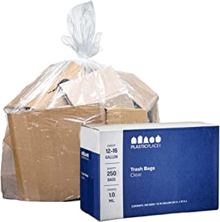 """Plasticplace 12-16 Gallon Trash Bags │ 1.0 Mil (250 Count) │ Clear Garbage Can Liners │ 24"""" x 31"""""""
