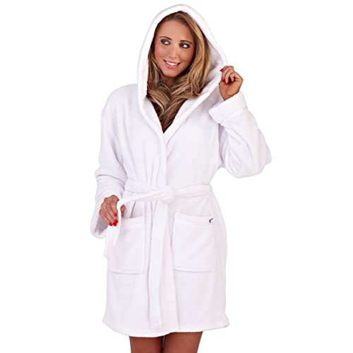 Dannii Matthews Luxury Corel Soft Hooded Short Bath Robe Dressing Gown  Housecoat with Belt Ladies in 7d9be2b71