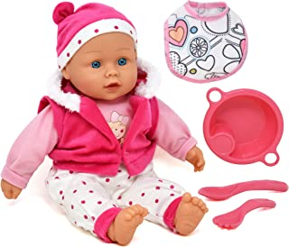 Doll Feeding Set, Includes 16 Inch Soft Body Baby Doll with Outfit Accessories, Jacket, Bib, Feeding Plate and Food Utensils - A Realistic Doll Set Collection for Toddlers, Girls and Kids