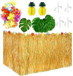 Litviz 55 Pieces Hawaiian Tropical Party Decorations with 9ft Hawaiian Table Skirt, Palm Leaves, Luau Flowers, Tissue Pine...
