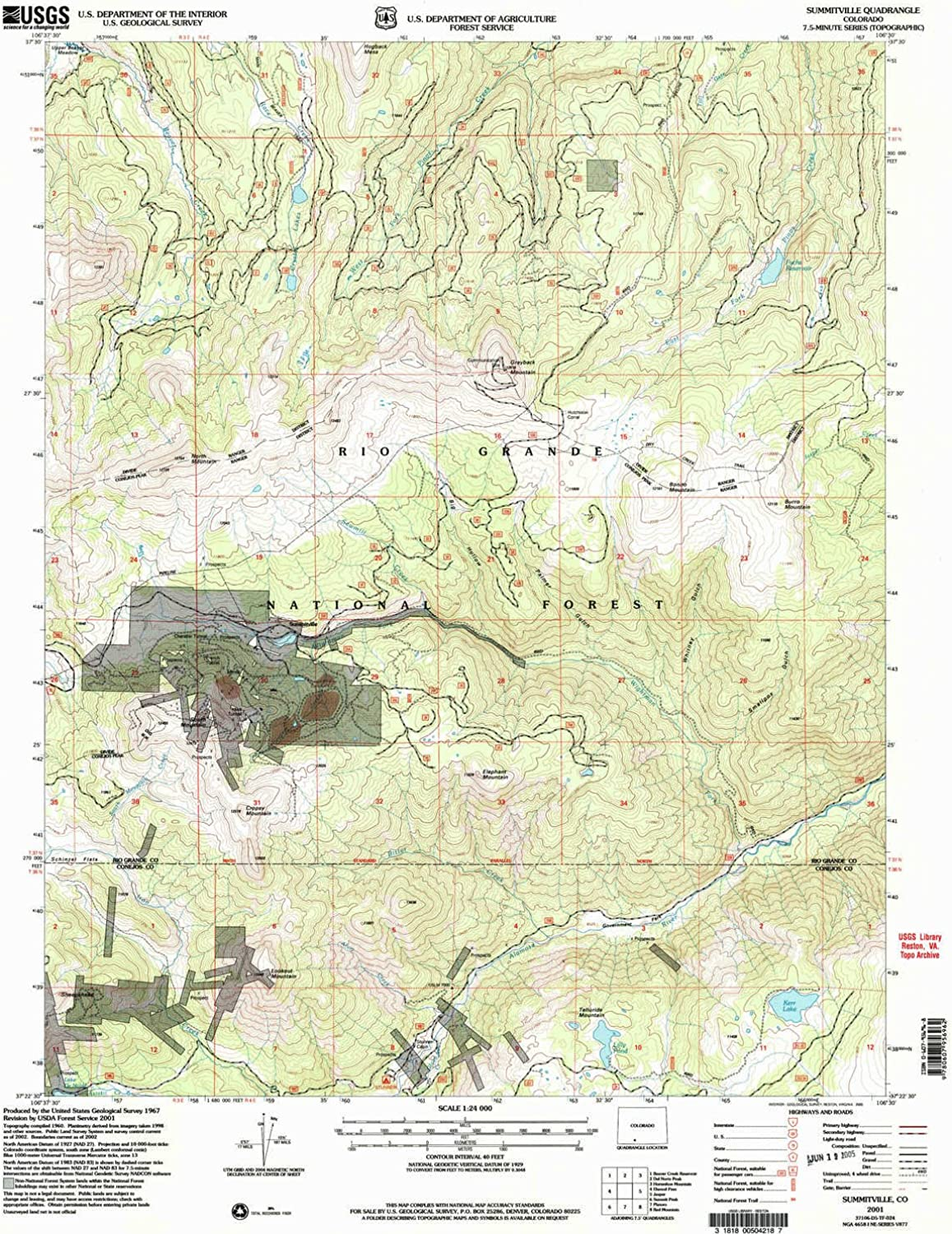 Summitville CO topo map, 1 24000 Scale, 7.5 X 7.5 Minute, Historical, 2001, Updated 2005, 26.7 x 22.1 in