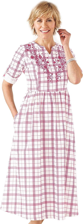 AmeriMark Women's Plaid Dress Floral Embroidered Front Short Sleeves Side Pocket