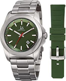Joshua & Sons Mens Quartz Watch, Analog Display and Stainless Steel Strap JX108GN-BX