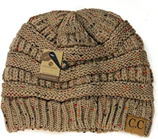 C.C NYfashion101 Exclusive Colorful Confetti Soft Stretch Cable Knit Slouch Beanie - Taupe