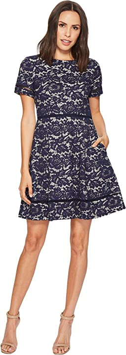 Vince Camuto Bonded Lace Fit and Flare with Pleats