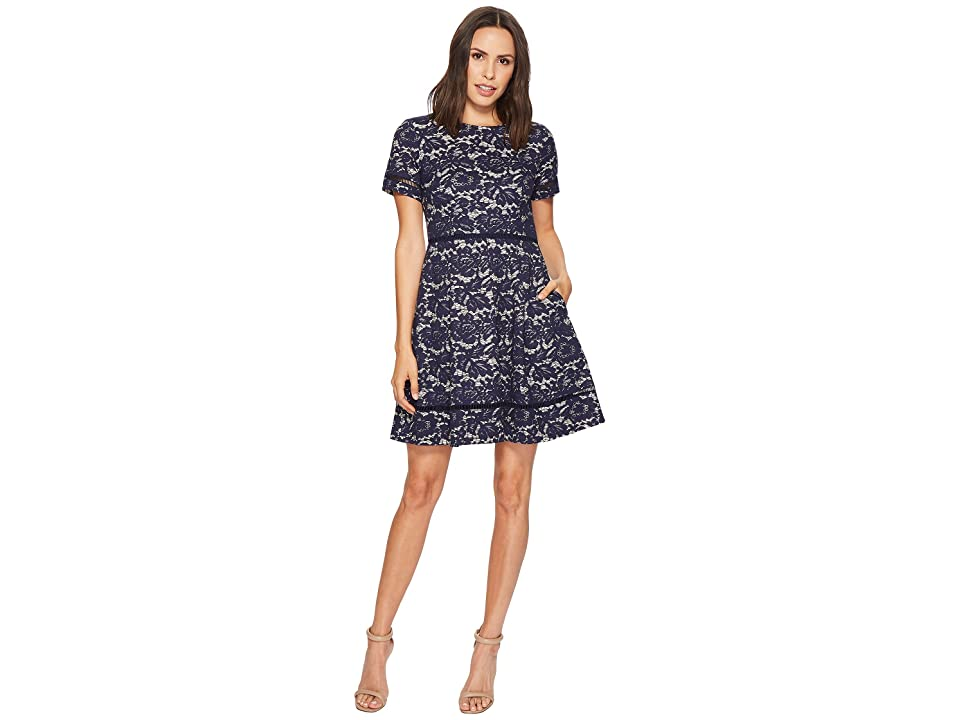 Vince Camuto Bonded Lace Fit and Flare with Pleats (Navy) Women