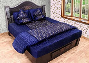 Craft Jaipur Silk 1 Rajai, 2 Pillow Cover, 1 Bed Cover, 2 Filled Cushions, 2 Filled Bolsters Bedding Set (236.22x205.74cm, Royal Blue)