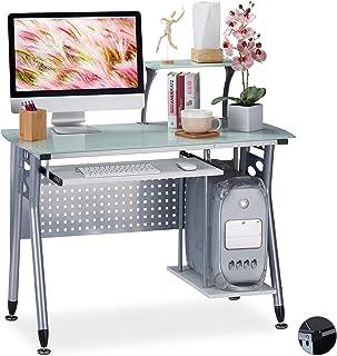 Relaxdays 98 x 105 x 55 cm Blanco Escritorio de PC Bandeja de Teclado Compartimento para la Torre del Ordenador Metal...