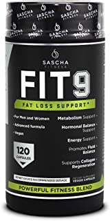 Sascha Fitness Fat Loss pills | Collagen support | Fluid Balance | FIT9 Ingredients: 7Keto + Uva Ursi, Gotu Kola, L-Theanine,Gingko Biloba,DIM,Green Tea | Weight Loss Supplements-Vegan-120 Natural Cap