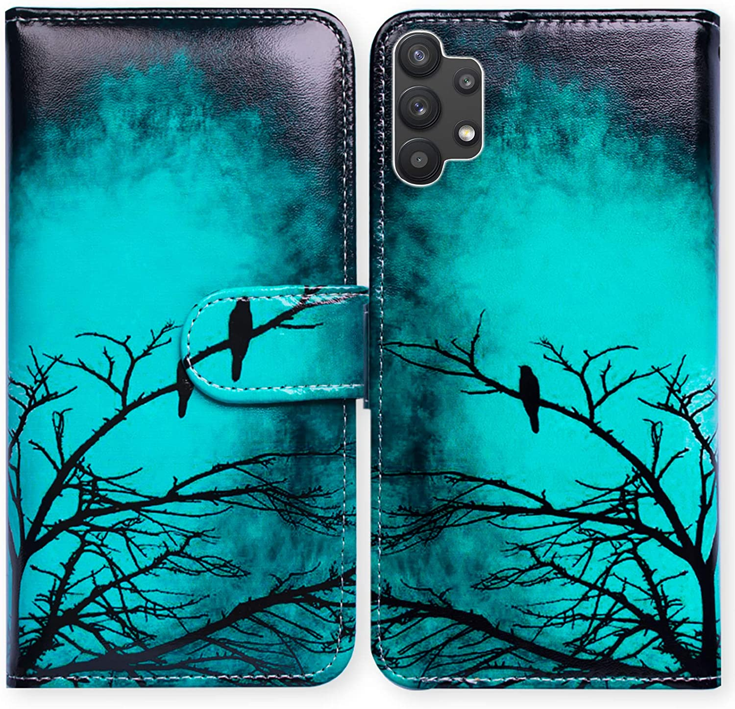 Galaxy A32 5G Case,Bcov Black Bird Green Leather Flip Phone Case Wallet Cover with Card Slot Holder Kickstand for Samsung Galaxy A32 5G 2021