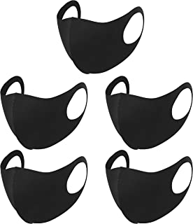 Ablest Face_Cover Washable Reusable Mouth Cover for Outdoor,5 Pcs_Black